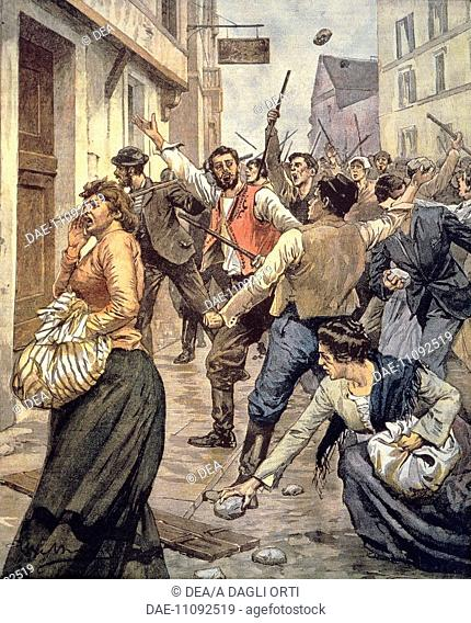 Anti-Semitic riots in Moravia. Achille Beltrame (1871-1945), from La domenica del Corriere, November 12, 1899