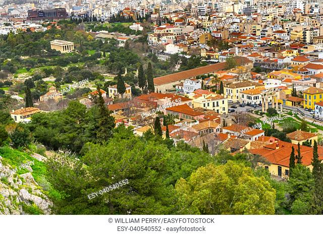 Ancient Agora Greek Marketplace From Acropolis Athens Greece. Temple of Hephaestus and Long Stoia of Attalus