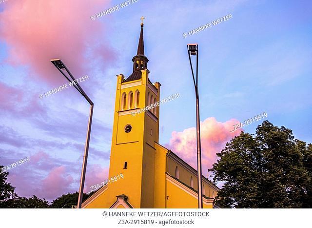 Sunset over St. John's Church in Tallinn, Estonia