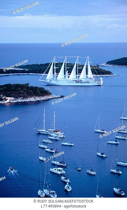Boats on Adriatic Sea. Hvar. Croatia