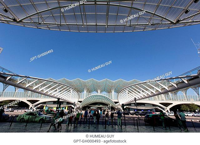 ENTRANCE TO THE GARE DO ORIENTE TRAIN STATION, PARK OF THE NATIONS, LISBON, PORTUGAL