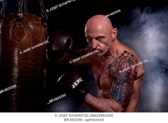 Man, bald and tattooed, with boxing gloves, trained on punching bag, Germany