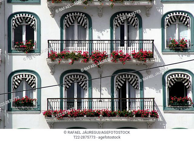 Castro Urdiales (Cantabria) Spain. Architectural detail of a building in the village of Castro Urdiales