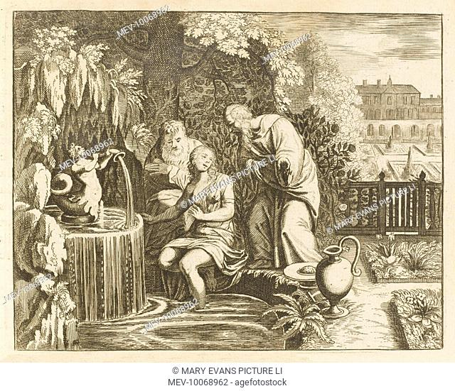 This chaste young lady is washing her feet when a pair of lecherous old men make indecent proposals to her : when she refuses, they accuse her of adultery