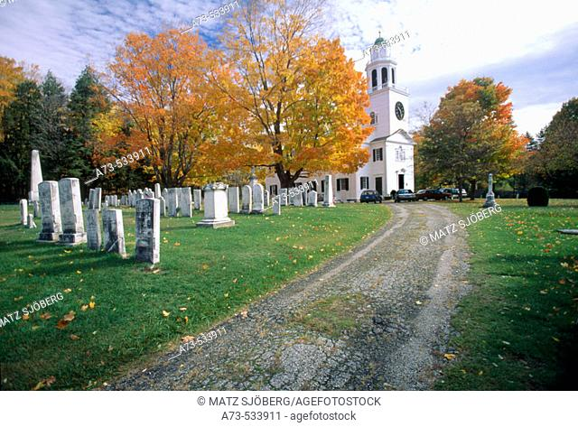 The Church of the Hill and the Cemetery. Lenox. Massachusetts (Berkshire). USA