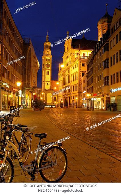 Maximilianstrasse (Maximilian street), Perlachturm and Town Hall, Augsburg, Romantic Road (Romantische Strasse), Swabia, Bavaria, Germany, Europe
