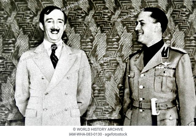 King Zog of Albania meets with Italian Fascist Foreign Minister, Count Ciano 1936
