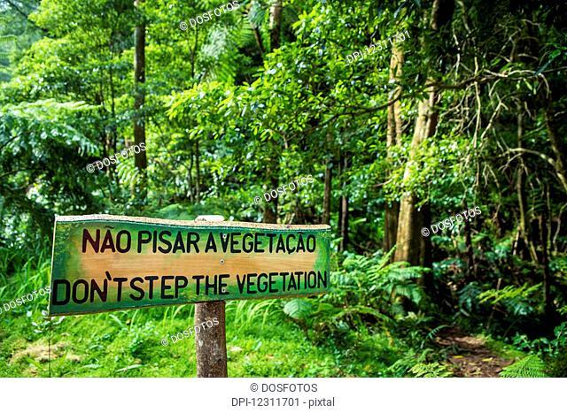 Sign in Monumento Natural Caldeira Velha, National Park; Sao Miguel, Azores, Portugal