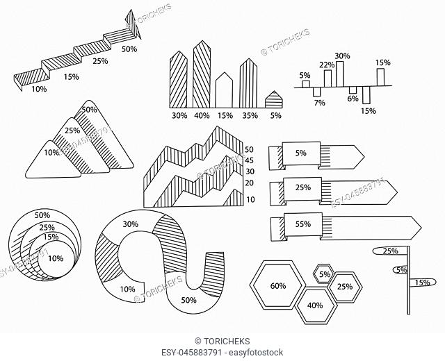 Big set of infographics elements. EPS10. Vector chart report template made from lines and icons. Book coloring book