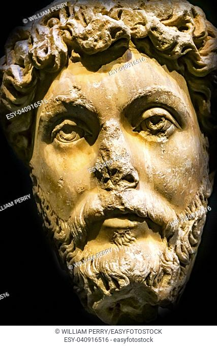 Roman Emperor Marcus Aurelius Statue National Archaeological Museum Athens Greece. From 161-180 AD