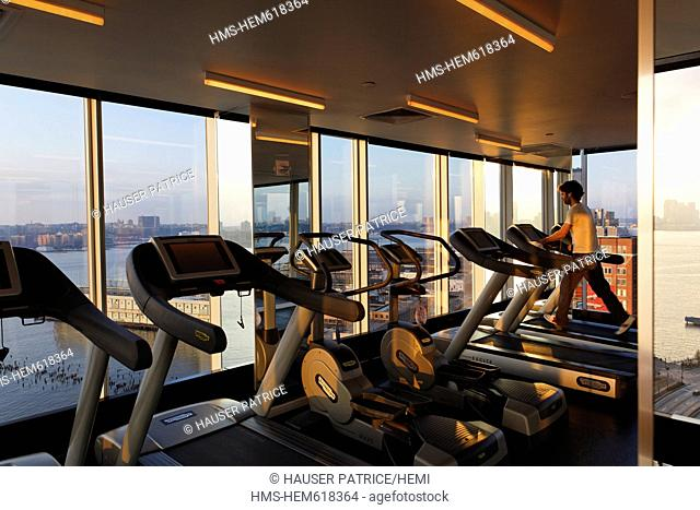 United States, New York City, Manhattan, Meatpacking District, Standard Hotel, fitness center with panoramic view on Hudson River, 848 Washington Street