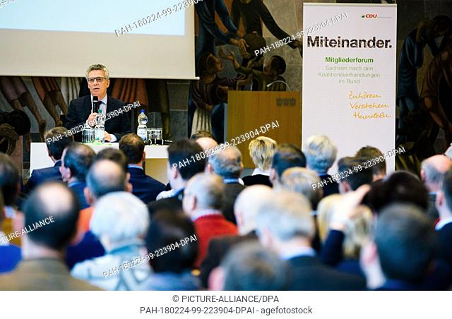 24 February 2018, Germany, Dresden: Thomas de Maiziere (Christian Democratic Union - CDU), minister of the interior, speaks during the member forum of the...
