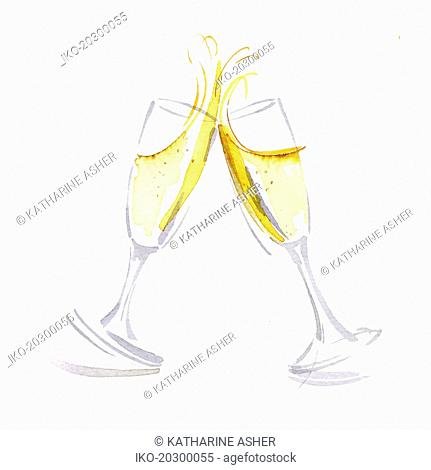 Two champagne glasses toasting