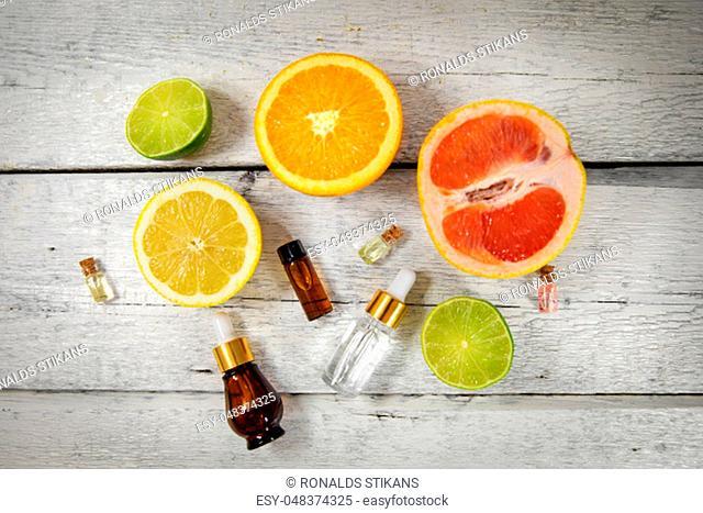organic citrus essential oils and cosmetics. top view