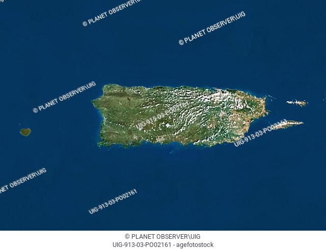 Satellite view of Puerto Rico. This image was compiled from data acquired by LANDSAT 5 & 7 satellites