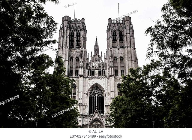 Cathedral of St Michael and St Gudula in the center of Brussels, Belgium