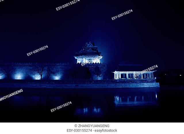 BEIJING - DECEMBER 22: The Northwest turrets of the Forbidden City at night, on december 22, 2013, beijing, china