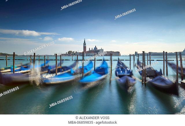Italy, Veneto, Venice, Piazza San Marco / St Mark's Square, gondolas, San Giorgio Maggiore, lagoon