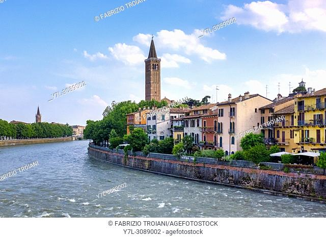 View of the Lungoadige from Ponte di Pietra, Verona, italy