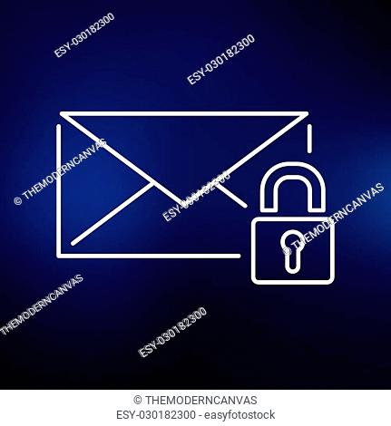 Secure SSL email icon. Protected email with padlock sign. Encrypted email symbol. Thin line icon on blue background. Vector illustration