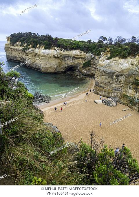 Angled view of the beach and cliffs at Loch Ard Gorge, Port Campbell National Park, Great Ocean Road, Victoria, Australia