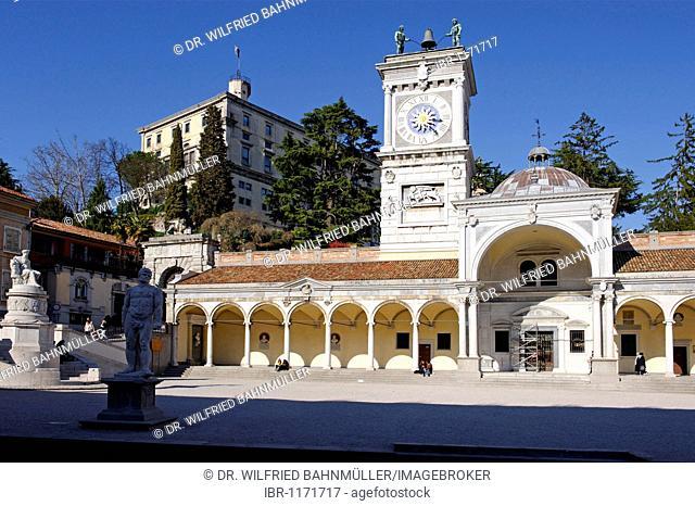 Clock tower, Torre dell'Orologio, below the castle, Piazza Liberta, Udine, Friuli-Venezia Giulia, Italy, Europe