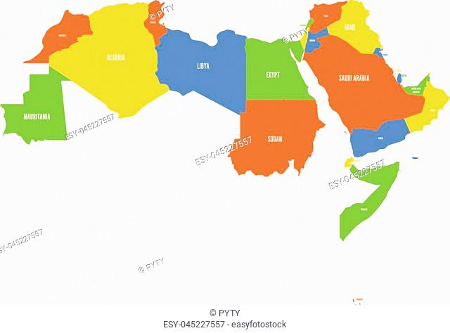 Arab World states. Political map of 22 arabic-speaking countries of the Arab League. Northern Africa and Middle East region. Vector illustration
