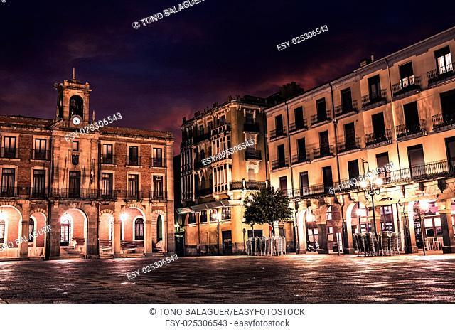 Zamora Plaza Mayor sunset in Spain by via de la Plata way to Santiago