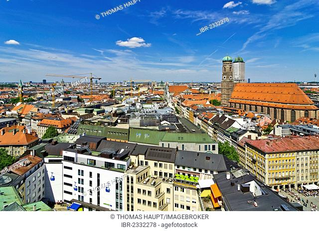 View from St. Peter's Church, Alter Peter, over the roofs with Frauenkirche, Church of Our Lady, Munich, Upper Bavaria, Bavaria, Germany, Europe
