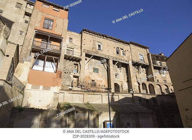 Tarazona de Aragon is a historic town in Aragon, Spain.hanging houses