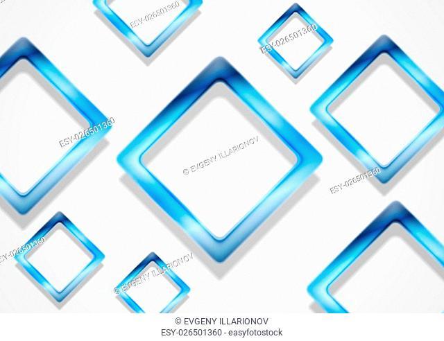 Blue shiny squares on white background