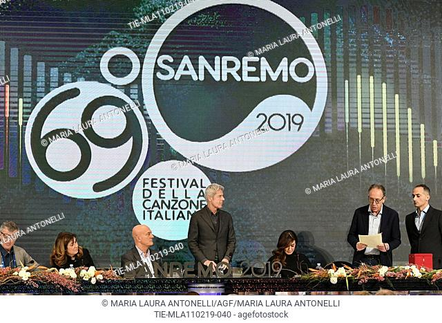Director of Rai 1 Teresa De Santis, Claudio Bisio, Claudio Baglioni, Virginia Raffaele, Mayor of Sanremo Alberto Biancheri during the final press conference of...