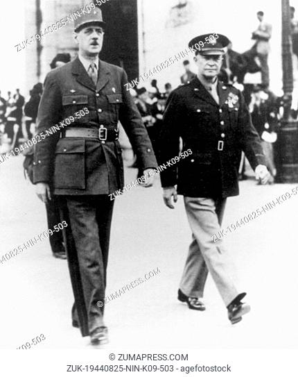 Aug. 25, 1944 - Paris, France - CHARLES DE GAULLE was a French general and statesman, leader of the Free French during World War Two and the architect of the...