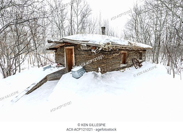 Sodhouse in winter, Fortwhyte, Manitoba, Canada