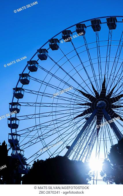Ferris Wheel in Sunset in Nice in Provence-Alpes-Côte d'Azur, France