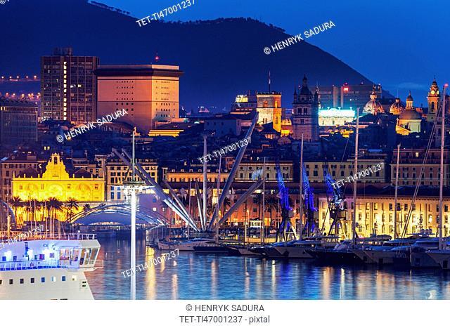 Old town in Genoa across harbor