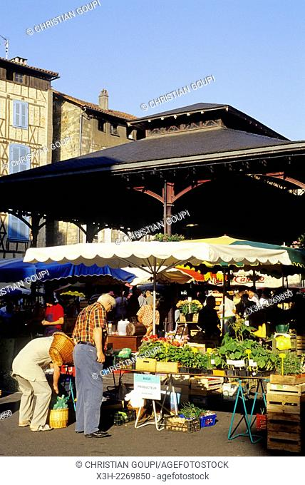 covered market on Carnot square, Figeac, Lot department, Midi-Pyrenees region, France, Europe