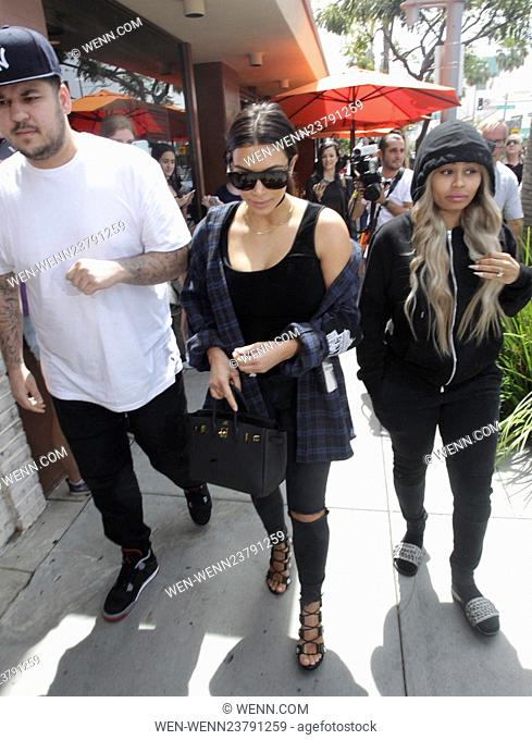 Kim Kardashian, Rob Kardashian, and Blac Chyna leaving Nate'n Al after having lunch together Featuring: Kim Kardashian, Rob Kardashian