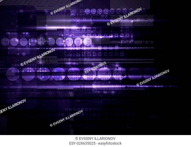 Dark shiny purple tech background. Geometric design template