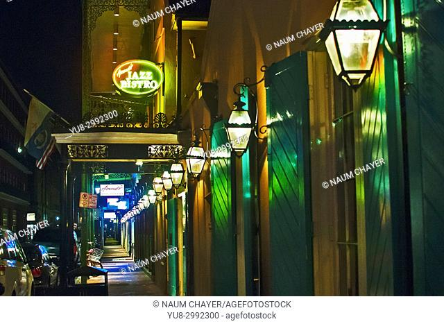 Street lights of French quarter, New Orleans, Louisiana, USA, North America