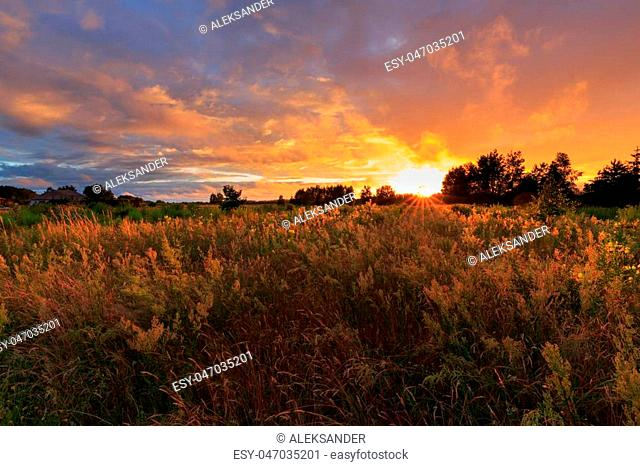 Sunset clouds rain after over abandoned field with grass,Podlasie Region,Poland,Europe