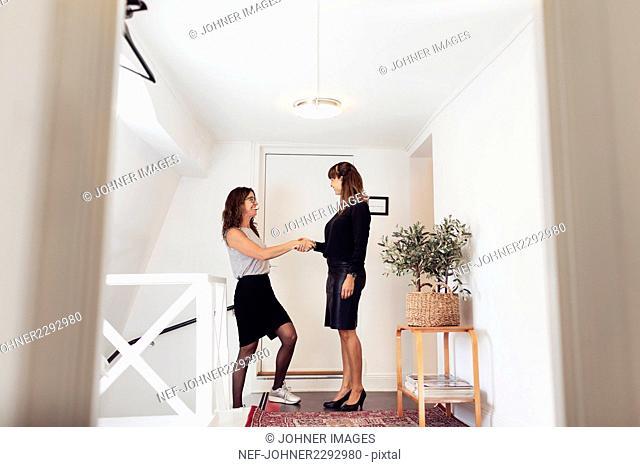 Women having handshake