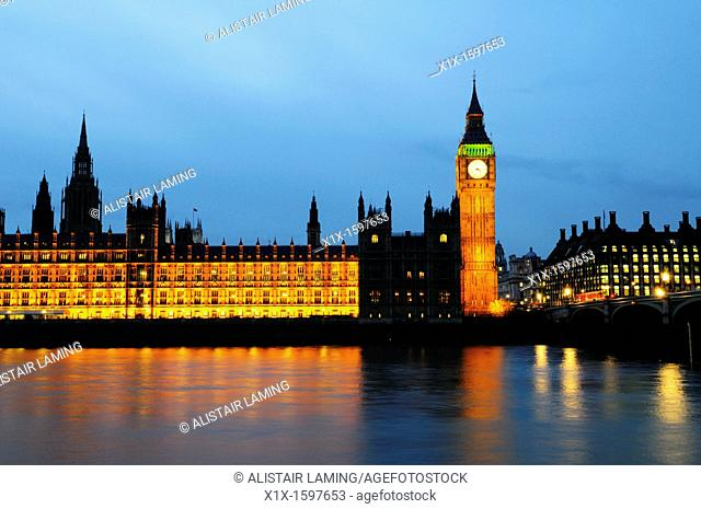 Big Ben and The Houses of Parliament at Dusk, Westminster, London, England, UK