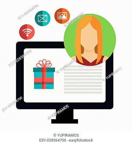 Digital marketing and online sales, vector illustration graphic