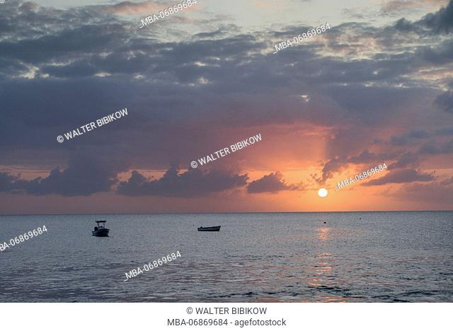 St. Kitts and Nevis, Nevis, Charlestown, waterfront sunset