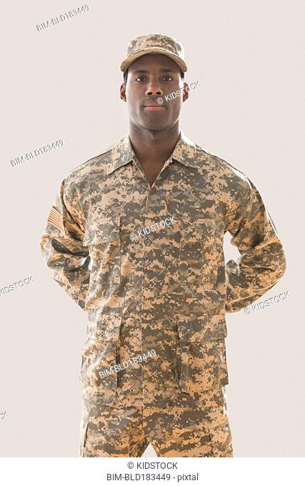 African American soldier wearing fatigues