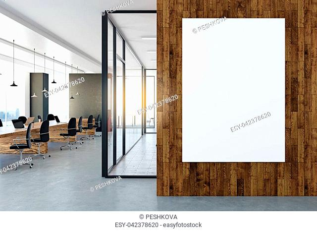 Modern office interior with empty poster on wall. Mock up, 3D Rendering