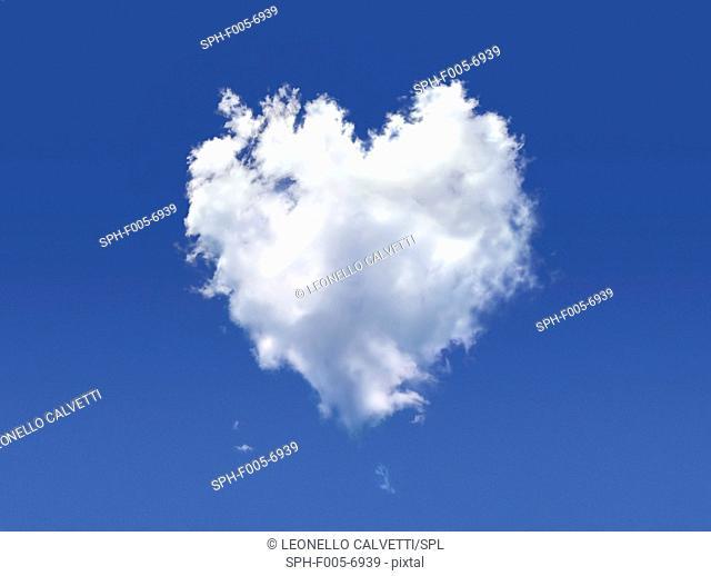 Heart-shaped cloud, computer artwork
