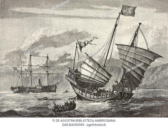 Chinese pirate junk being captured by the French ship Le Montcalm, illustration by Smeeton and Tilly from L'Illustration, Journal Universel, No 1633