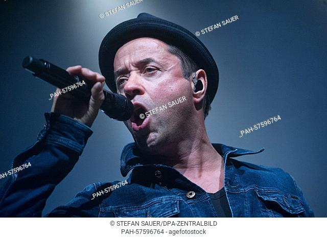 German actor Jan Josef Liefers performs on stage with his band Radio Doria at the 'Kaisersaal' concert venue in Greifswald, Germany, 18 April 2015